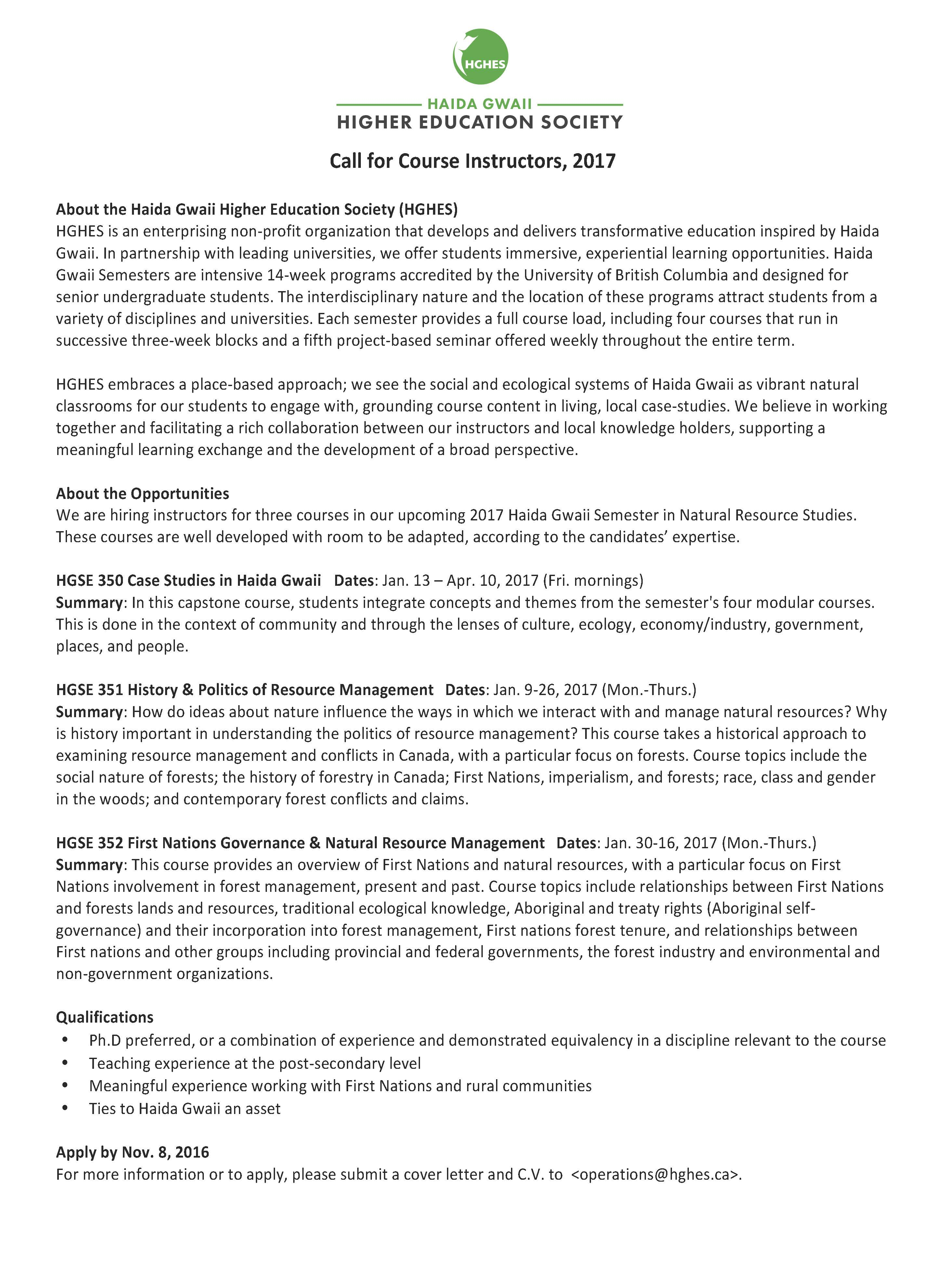 Higher Education Cover Letter from hghes.ca